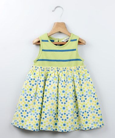Loving this Green Stripe & Circle Babydoll Dress - Infant & Toddler on #zulily! #zulilyfinds