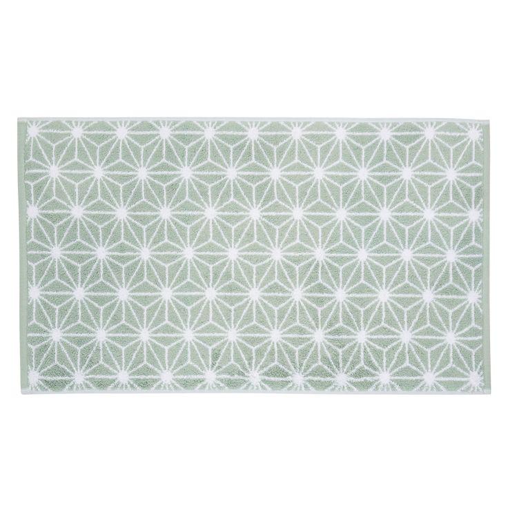 Tapis de bain en coton vert d'eau 50 x 80 cm NORDIC