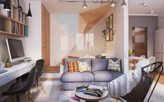 1001 Idees Deco Et Astuces Gain Place Pour L Amenagement Studio 20m2 Small Apartment Interior Small Apartment Design Apartment Interior Design
