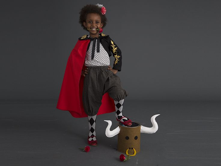 How to make a matador costume (with bull bucket template) that can transform into a Red Riding Hood costume with a few tweaks. #Halloween #Costume