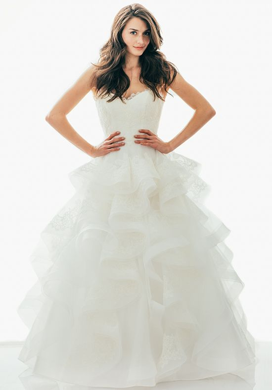 Tulle Ball Gown with Lace Bodice and Lace and Horsehair Trimmed Cascades | Judd Waddell: Celeste | http://knot.ly/6497BQHcP