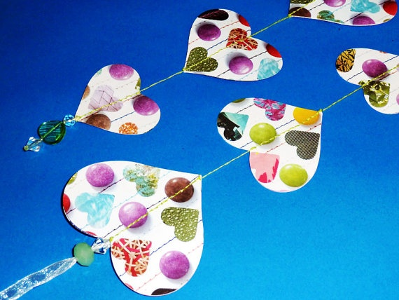 Sweet Love 3D Paper Heart Garland with Green by LittleGingerMakes, £4.95