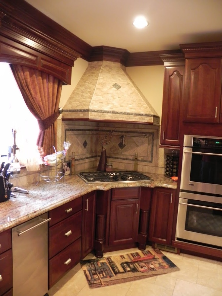 I love that the stove is in the corner corner cooktops pinterest granite stove and corner Kitchen design center stove