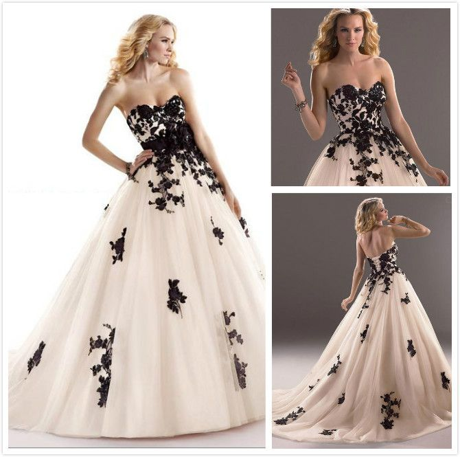 Black And White Wedding Dress,Ball Gown Wedding Dress With $167.00