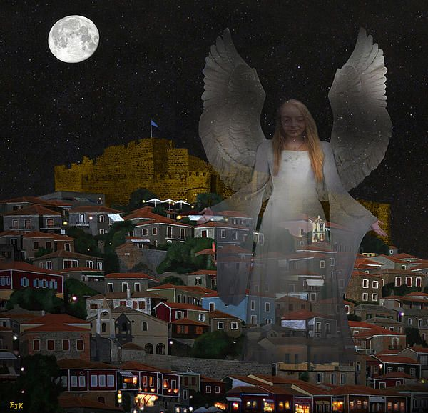 Pure Lesvos One Of A Series of mixed media pictures by Eric Kempson Eftalou, Molyvos, Lesvos, Greece  http://eric-kempson.artistwebsites.com www.epsilon-art.com