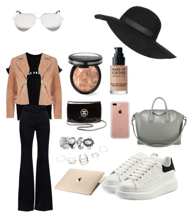 """""""OOTD"""" by madisonkiss on Polyvore featuring River Island, Alexander McQueen, Chanel, Belkin, Victoria Beckham, Laura Geller, MAKE UP FOR EVER, Givenchy and Topshop"""