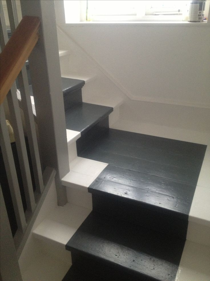 My stairs with grey painted runner in Farrow and Ball Downpipe.