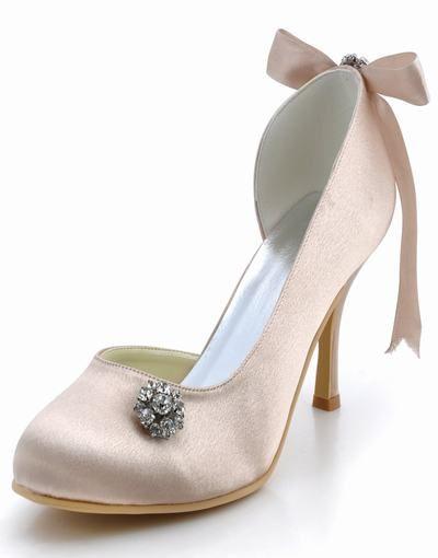 Utbud av eleganta nya mjuka fasta kvälls skor bröllop skor med hög klack satin rosett stra