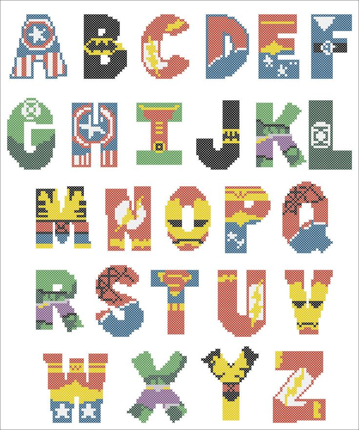 BOGO FREE! Superheroes Marvel ALPHABET Cross Stitch Pattern - pdf pattern instant download  #101 by Rainbowstitchcross on Etsy