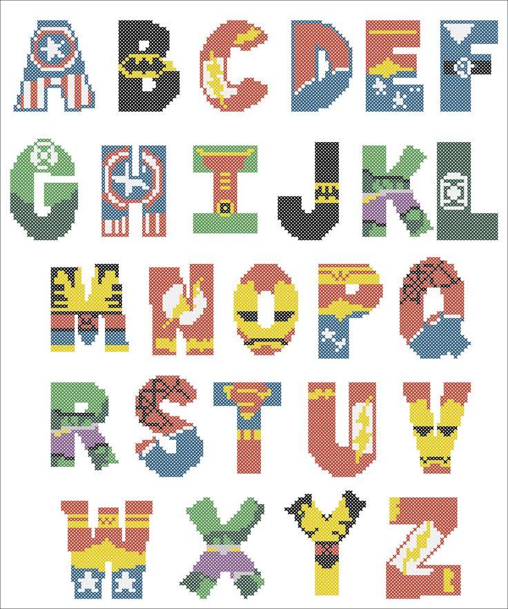 BOGO FREE Superheroes Marvel ALPHABET Cross Stitch Pattern