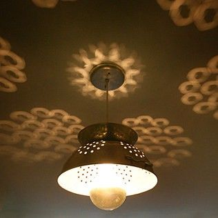 Who knew a kitchen strainer would make such an awesome light fixture?
