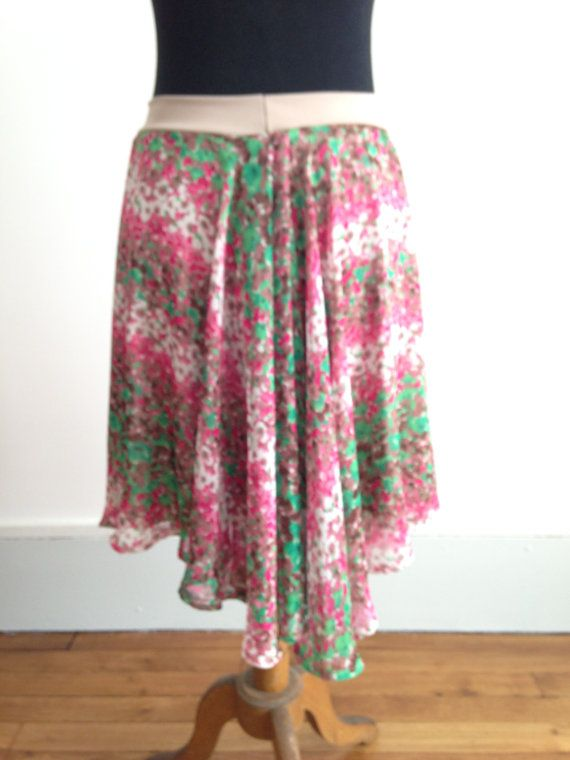 Tango skirt subtle tail green and pink flowers by BellaTango