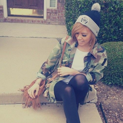 Main thing: Shorts on top of the leggings... that could work with this look. Idk about the beanie. It's cute but idk. Camoflauge jacket and beanie #grundge urban fashion