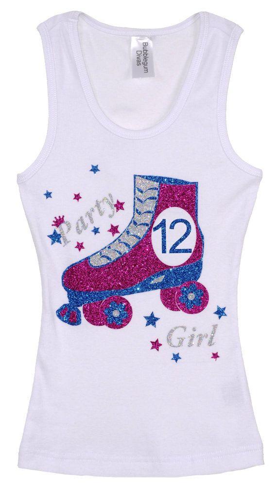 Girls 12th Birthday Party Roller Skate Tank Top by BubbleGumDivas