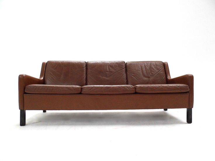 Danish Tan Leather 3 Seater Sofa Mogensen Style Midcentury 1960s