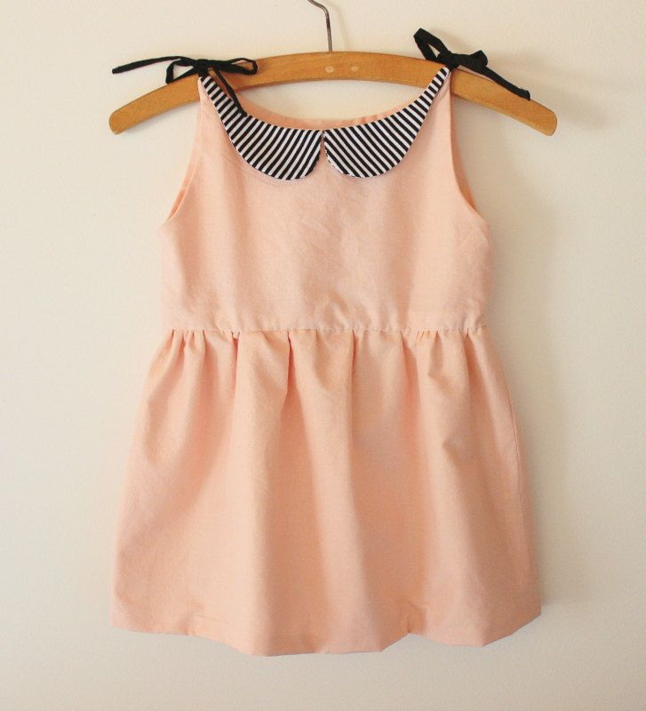 Made to Order, Girls Pink Dress with Striped Peter Pan Collar by TajandMe on Etsy