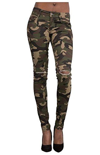 af3f5dbfe7c3c WSPLYSPJY-women clothes WSPLYSPJY Women's Camouflage Destroyed Broken Holes  Pants