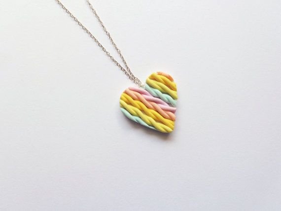 Braided Rainbow Heart Necklace Polymer Clay Jewelry by FairyDustHC