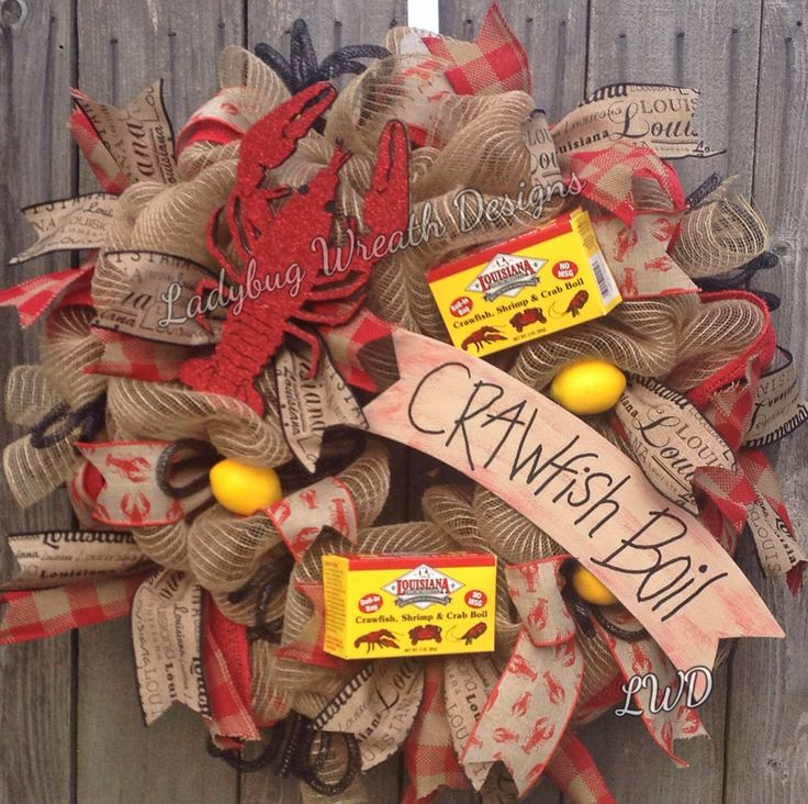Wreath, Cajun, Crawfish Boil Wreath by Ladybug Wreath Designs