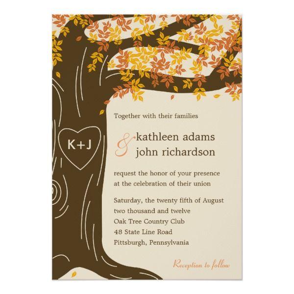 oak tree fall wedding invitation in 2018 weddings pinterest