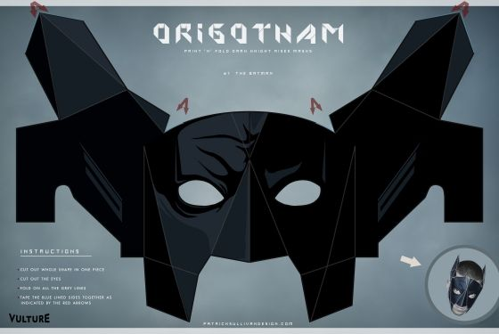 The Dark Knight Creases: Fold Your Own Batman, Bane, and Catwoman Masks: The Dark Knights, Paper Masks, Halloween Costumes, Folding Batman, Origami Batman, Catwoman Masks, Batman Parties, Batman Masks, Diy Paper