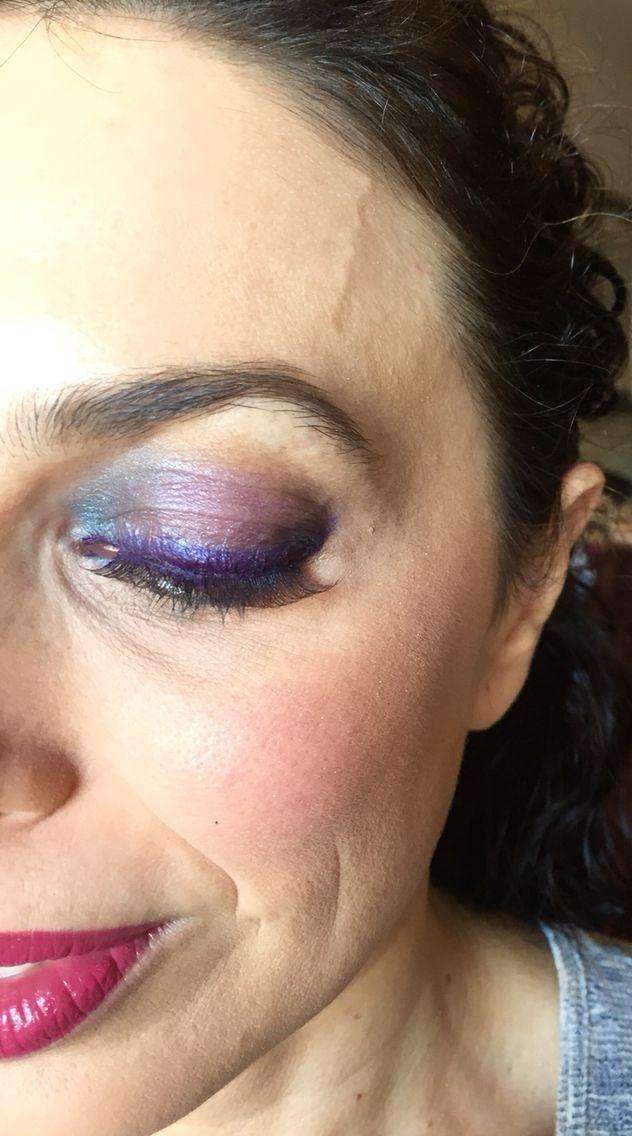 Makeup turquesa y berenjena # look feria de abril 2015