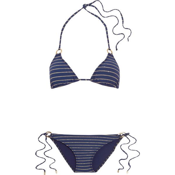 Melissa Odabash Palm metallic striped triangle bikini (€110) ❤ liked on Polyvore featuring swimwear, bikinis, navy, triangle bikini swimwear, gold neck tie, tie necktie, striped bikini and triangle bikinis