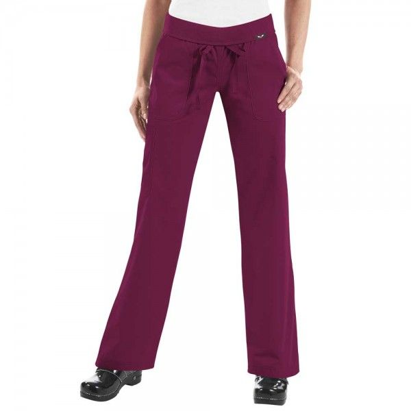 Koi Morgan Scrub Trousers in Merlot. If you like your comfort, then these koi Morgan Scrub Pants are perfect. They are ultra soft and super comfy. They have a drawstring waist and a rib-trim waist band that can be worn rolled or unrolled for added comfort. When you wear the koi Morgan Scrub Trousers, it really does feel like you are wearing tracksuit bottoms but with total style. £27.50  #nursescrubs #dentistuniform #nurses #dentists #redscrubs