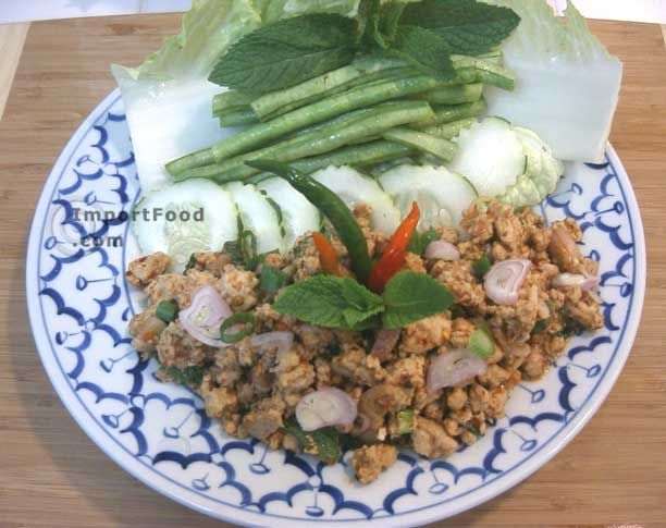 Authentic Thai recipe for Thai Spicy Ground Chicken and Toasted Rice, 'Larb Gai' from ImportFood.com.