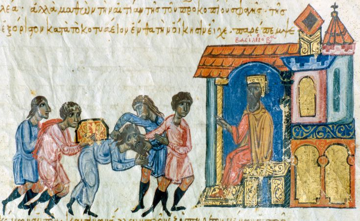 The enthroned emperor Basil accepts tribute from the general Leon but, because of Leon's behaviour towards Procopius, he is arrested by two soldiers.