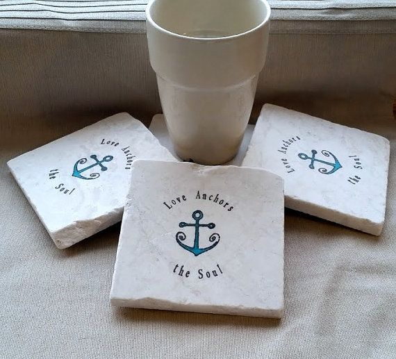 Love Anchors Our Soul Coasters - Nautical Home Decor by @MyLittleChick