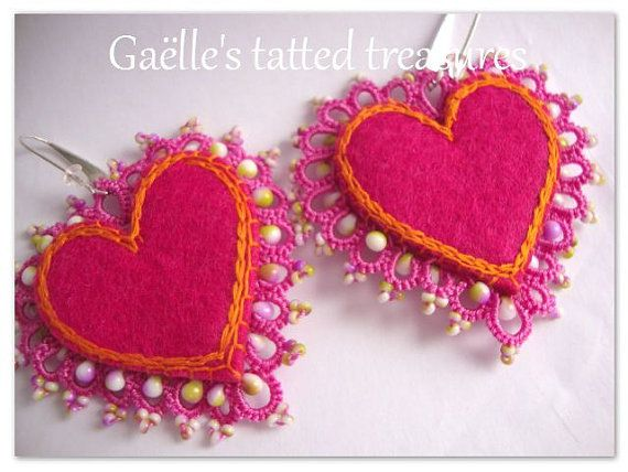lace heart earrings Valentine Day handmade by gaestattedtreasures