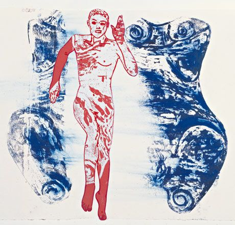 Detail from The Re-Birth of Venus, 1984, handprinting on paper Photograph: David Reynolds/Anthony Reynolds Gallery/Public Domain nancy Spero