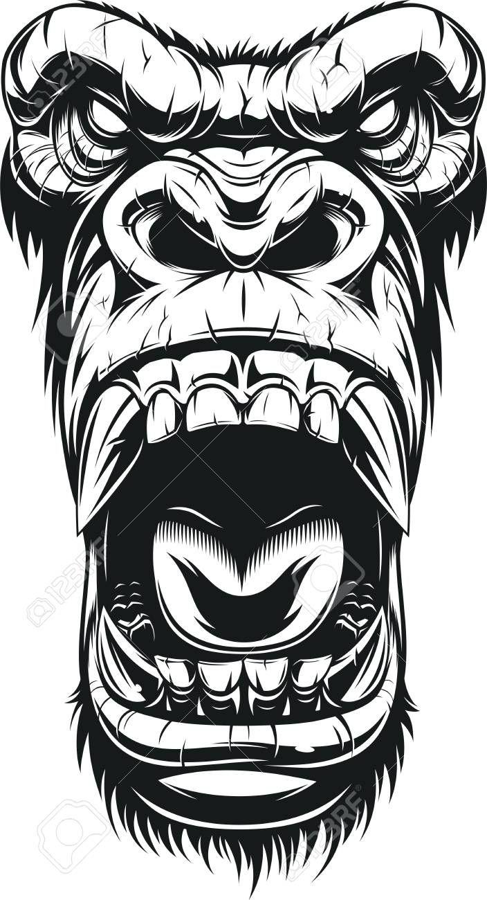 Vector Illustration Ferocious Gorilla Head On White Background Sketch Stock Vector 81309276 Gorilla Tattoo Graffiti Tattoo Monkey Art