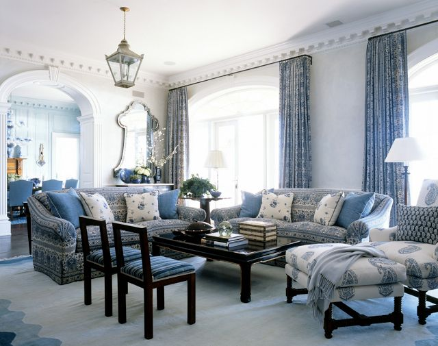 Calming French Living Room With Blue Curtains And Furniture Decorated Wall Mirror
