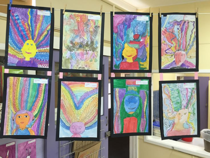 Such bold and bright self portraits, completed by our 3/4 students.