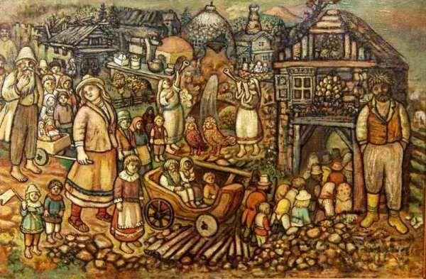 Честняков Ефим Васильевич (1874-1961)  Вход в Город Всеобщего Благоденствия (фрагмент)