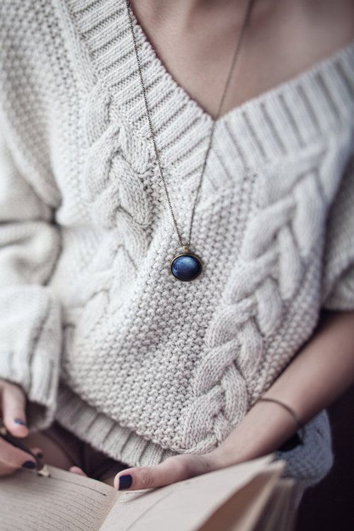 Off White Cable Knit Sweater with Deep V Collar, Black Nail Polish // relaxed