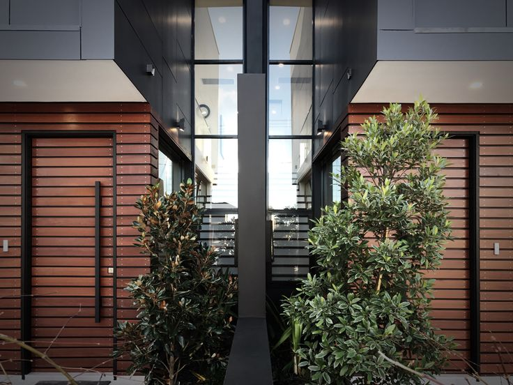 Completed project- dual occupancy homes. Full height glazing panels to the entry area open up the hallway to the garden and flood the centre of the plan with natural light. # dual occupancy # dual occ # duplex # contemporary homes # contemporary # luxury homes # luxury duplex # luxury dual occupancy # inside out living # designer living # matrix cladding # sydney # australia