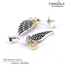 Guaranteed 100% Genuine 925 Sterling Silver Angel Wing Stud Earrings Fashion Jewelry For Women Free Shipping(China (Mainland))