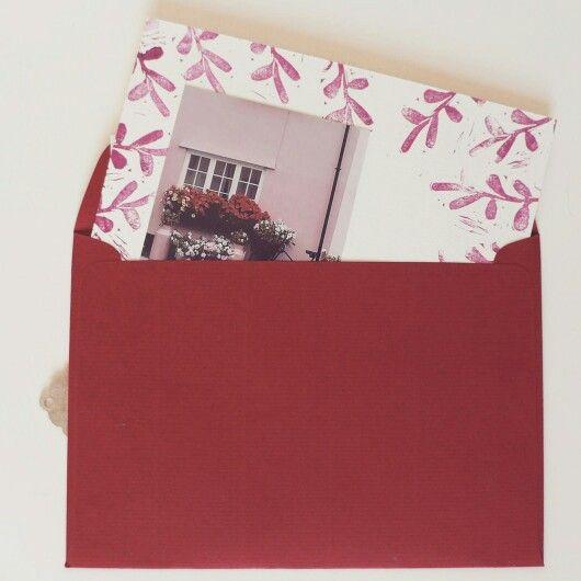 Advent calendar envelope and postcard - handprinted design
