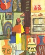 Dealer With Pitchers  by August Macke