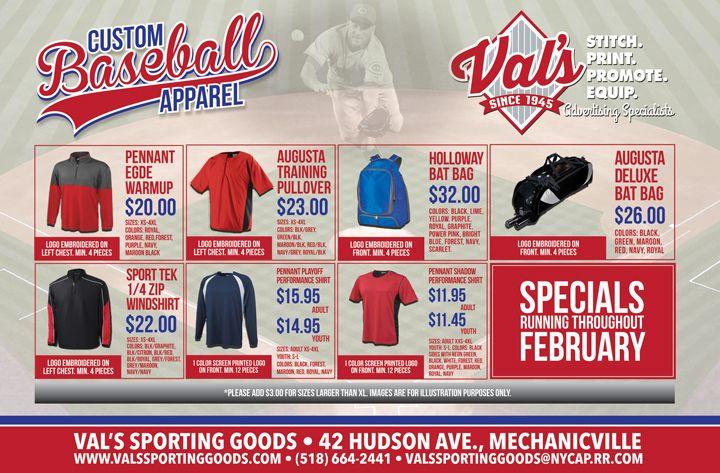 Baseball postcard for Val's Sporting Goods