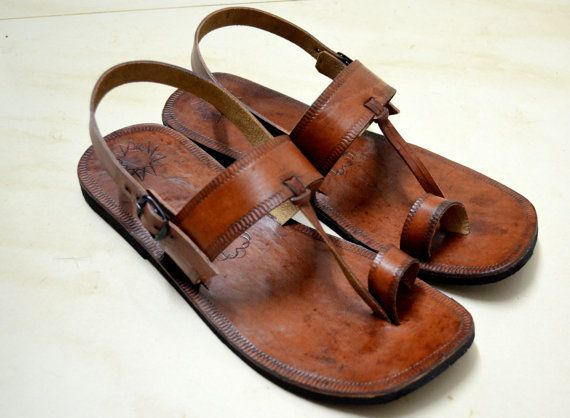 Moroccan Inspired Sling Back Leather Sandals-Handmade ...