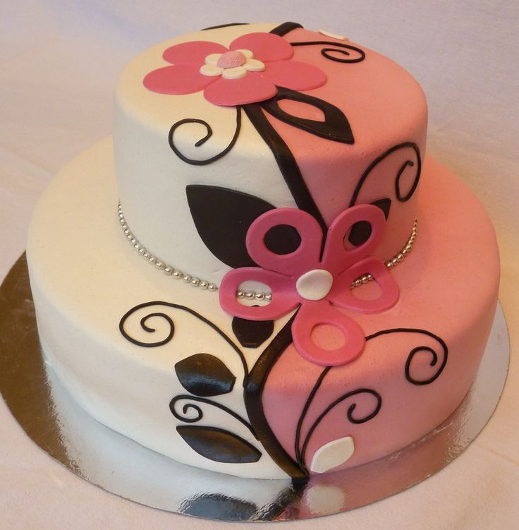 "Pink/white/black ornament - I really don't now what to call this style, especially not in english. If you hava a name for it, please comment! :-)  My favourite colors! I just love working with those. The cake is covered and decorated with marzipan.    I saw a cake that ""aldoska"" had made, and that cake was the inspiration for this cake. Thank you aldolska!"