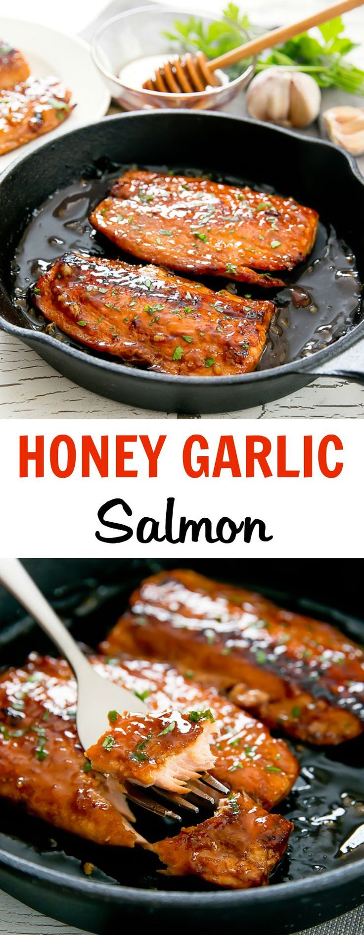 Honey Garlic Salmon. An easy and delicious meal ready in 30 minutes. #DeliciousSeafoodMeals