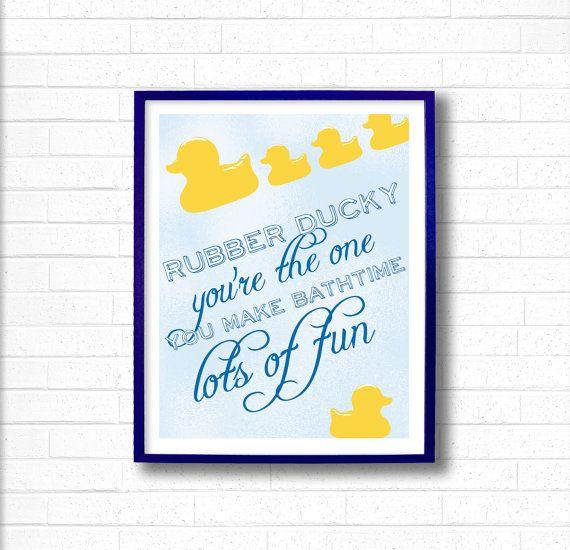 Kids Bathroom Decor   Kids Bathroom Wall Art   Bathroom Duck Art   Rubber  Ducky Prints   Yellow Rubber Ducky Youu0027re The One   Bath Wall Art