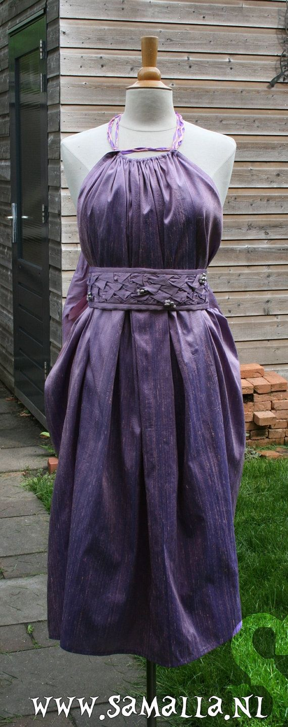 Dany Dress in Lilac/rosepink/purple silk with belt by SamallaNL