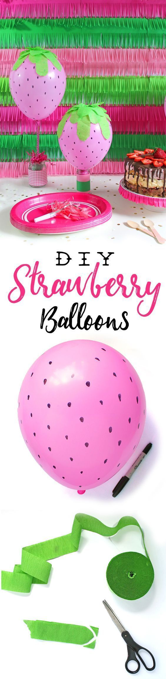 DIY Strawberry Balloon Party Decorations. So cute for a Strawberry Shortcake party or a berry themed party