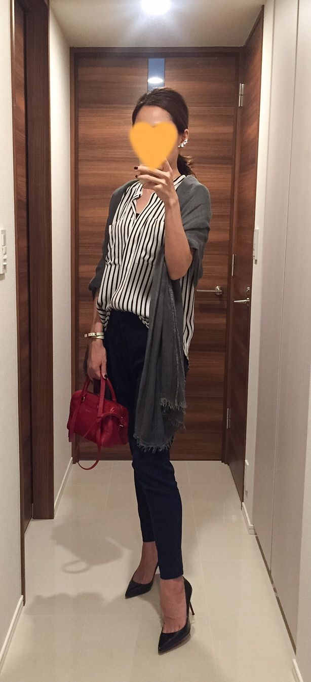 Striped shirt: tomorrowland, Navy pants: Des Pres, Red bag: Saint Laurent, Heels: Christian Louboutin